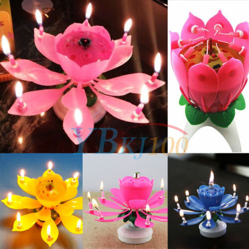 Details About Musical Candle Lotus Flower Rotating Candles Light Happy Birthday Party Gift LJ