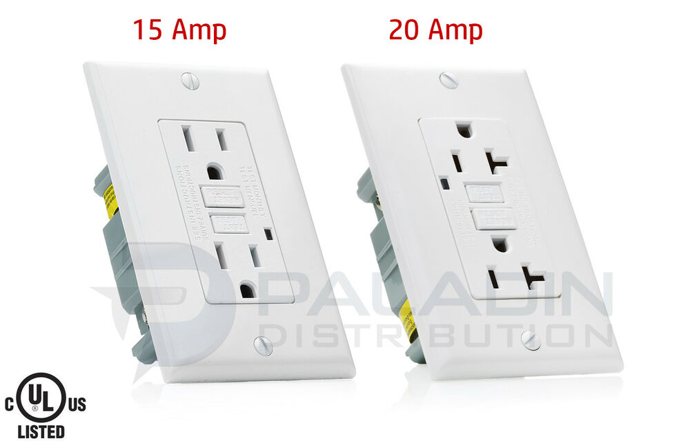 15A / 20A AMP GFCI GFI Safety Outlet Receptacle w/ Wall Plate ...