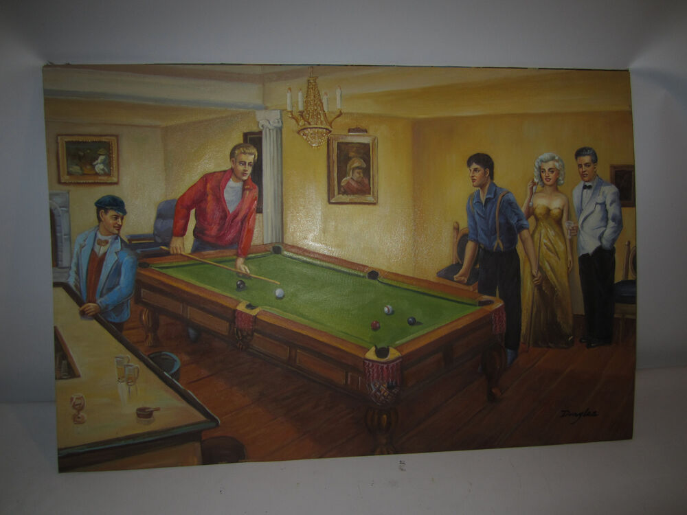 Billiards Pool Table Art Oil Painting Hand Painted Canvas Game Room