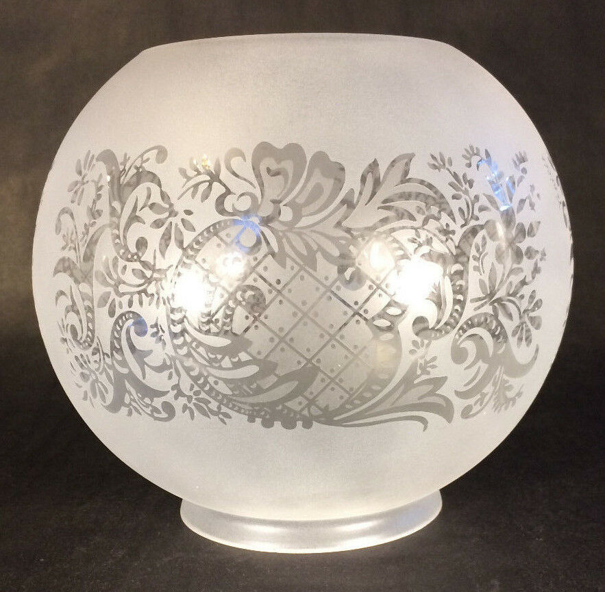 "4"" fitter Satin Frosted Bow Scroll Floral Etched Gas Oil ..."