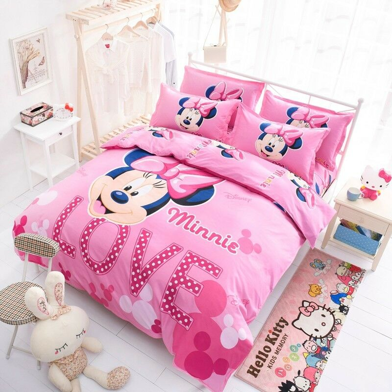 Cartoon Minnie Mickey Mouse Bed Duvet Cover Set Kids
