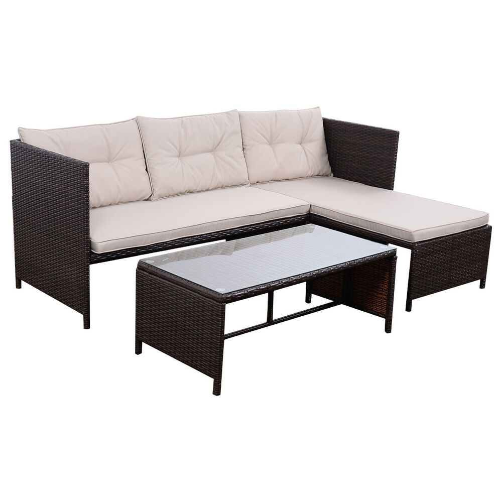 3 pcs outdoor rattan furniture sofa set lounge chaise cushioned patio garden ebay. Black Bedroom Furniture Sets. Home Design Ideas