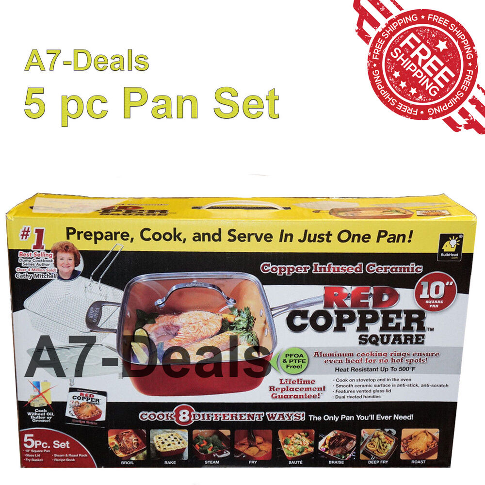 red copper chef square pan 5 piece pc set cookware non stick pans as seen on tv ebay. Black Bedroom Furniture Sets. Home Design Ideas