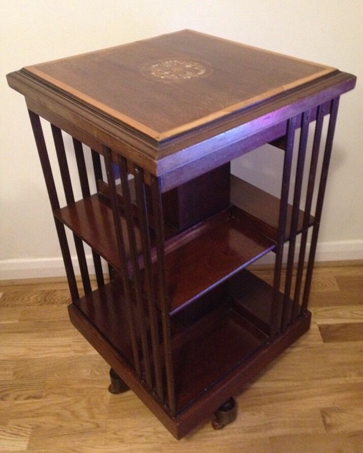 Rotating Bookshelves: Victorian Antique Wooden Rotating Bookcase Book Stand