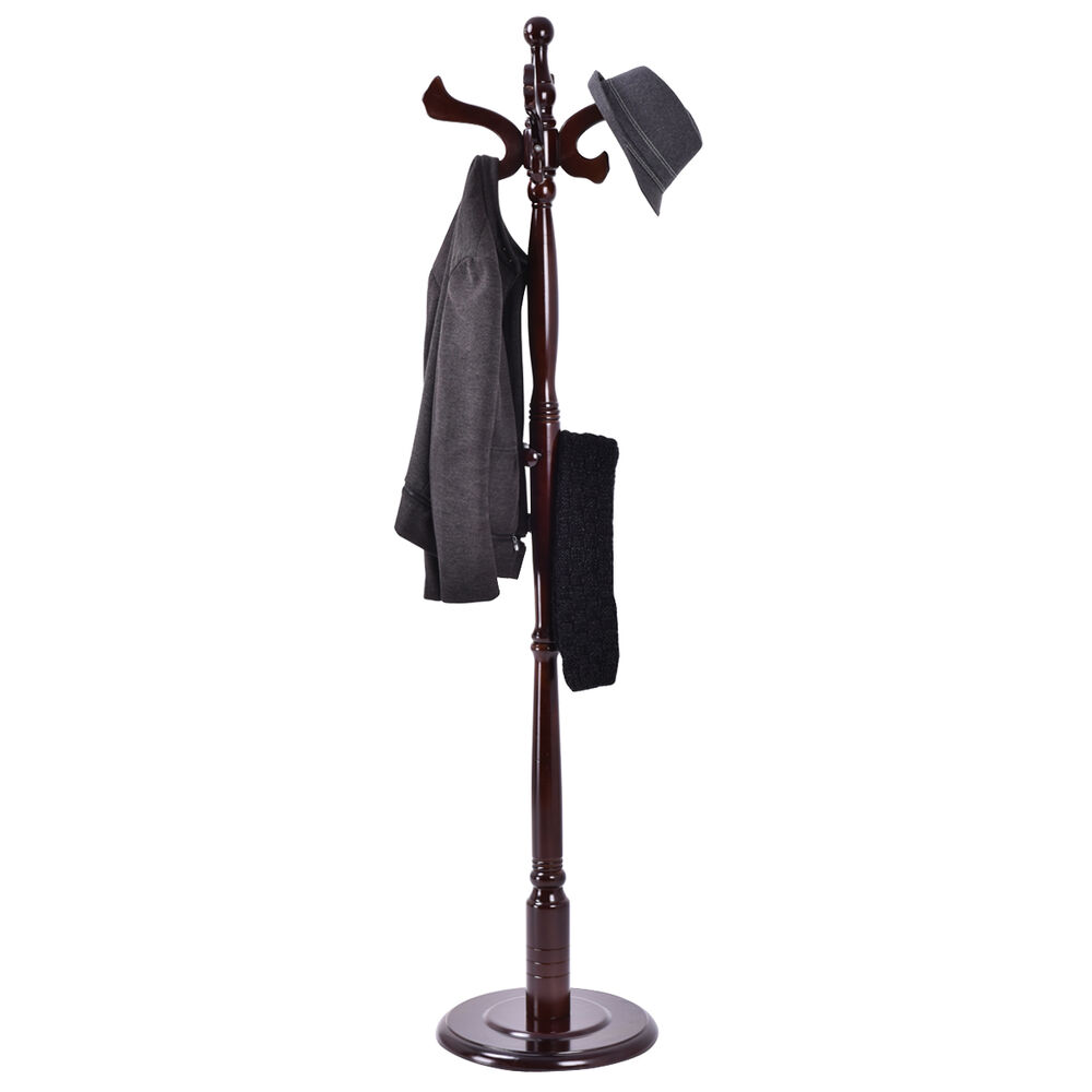71 free standing solid wood coat hat scarf rack hanger for Free tree stand