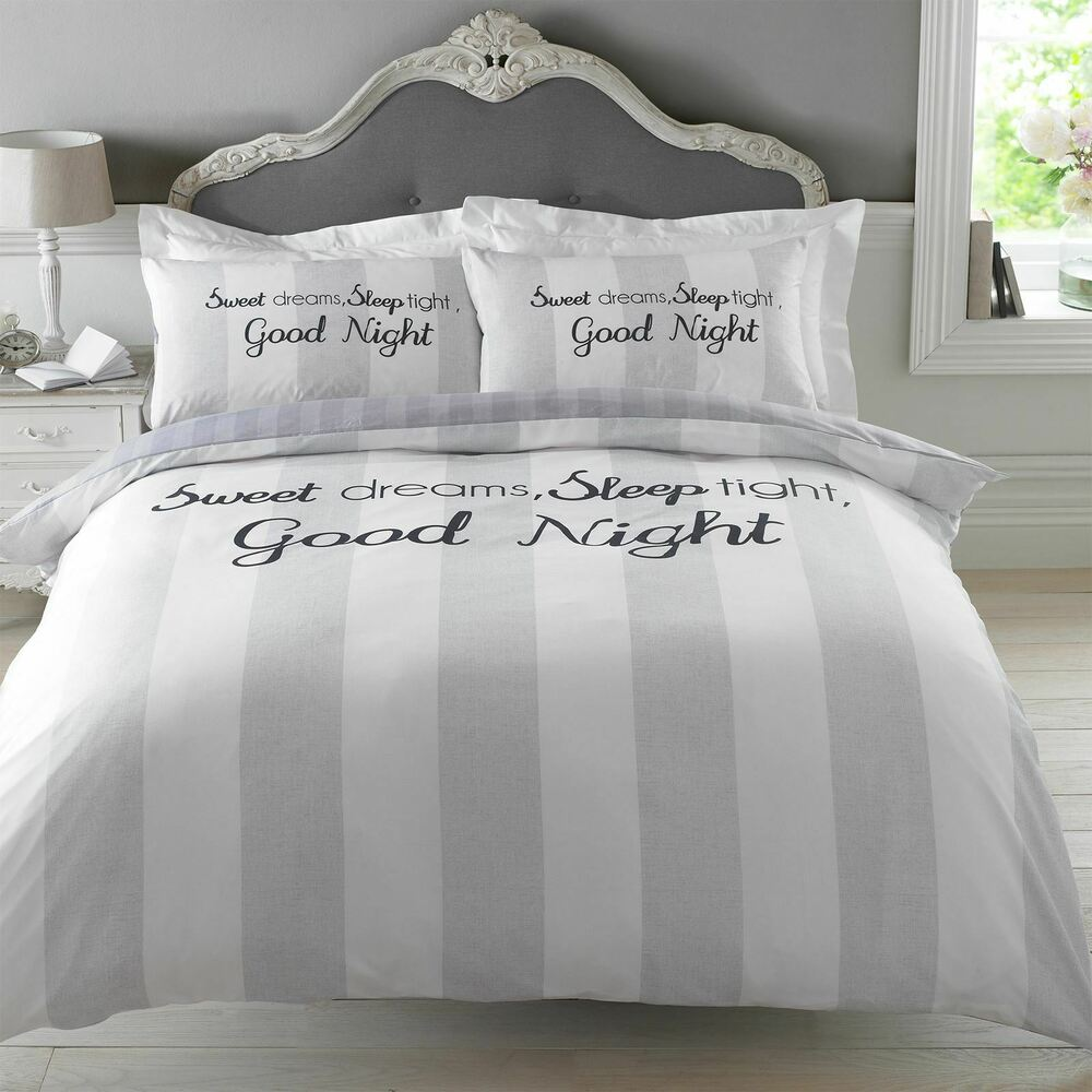dreamscene sweet dreams duvet cover with pillowcase stripe bedding set grey ebay - Liliac Bedding