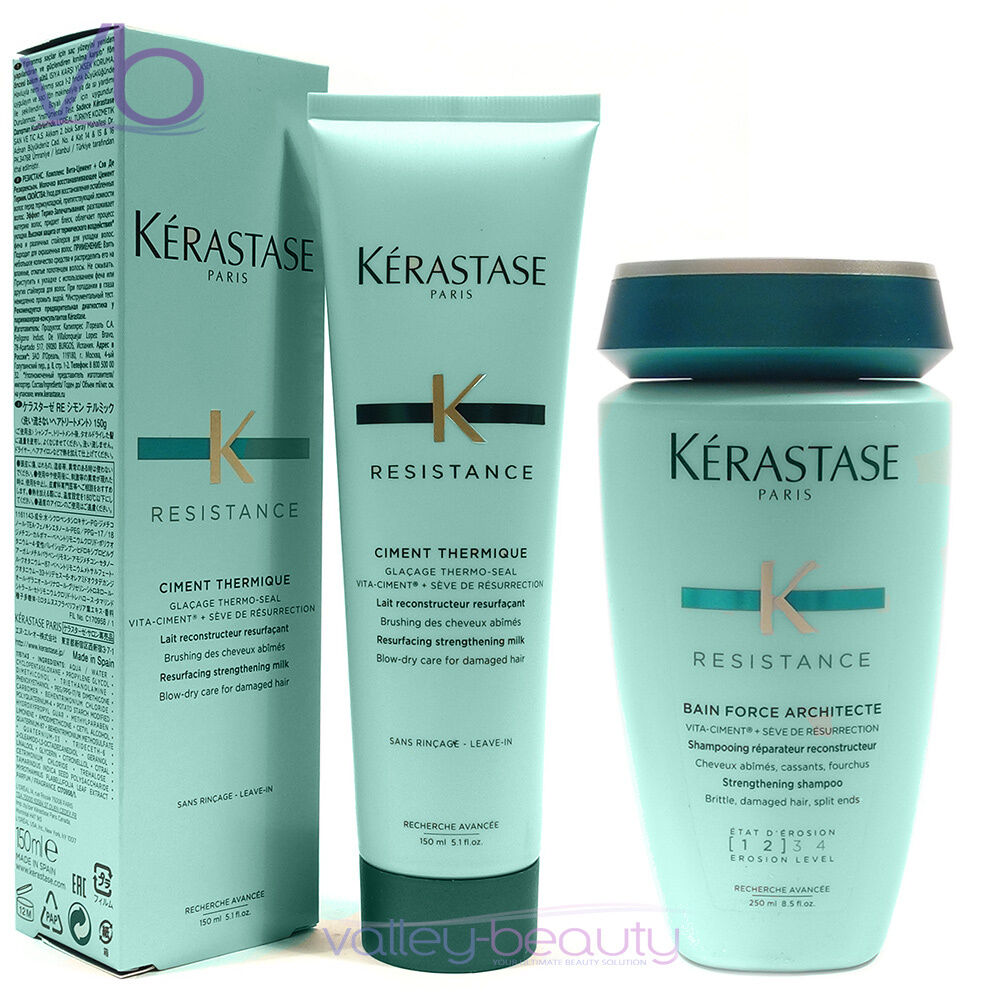 Kerastase resistance ciment thermique bain force for Kerastase bain miroir conditioner