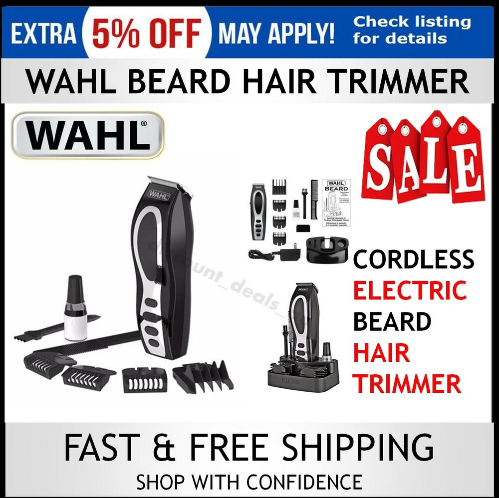 wahl cordless beard trimmer rechargeable electric hair clipper mens groomer k. Black Bedroom Furniture Sets. Home Design Ideas
