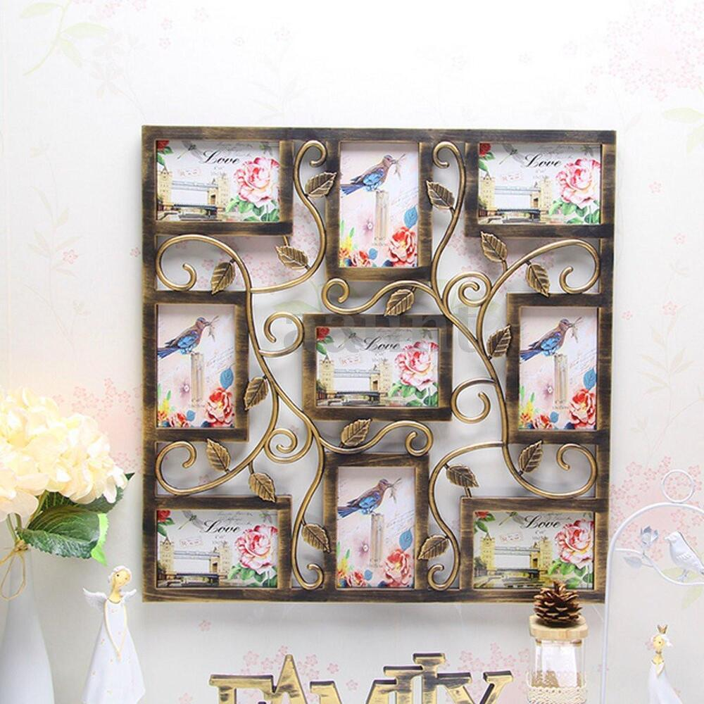 Wall Hanging Bronze Floral Vine Collage Photo Frames ...