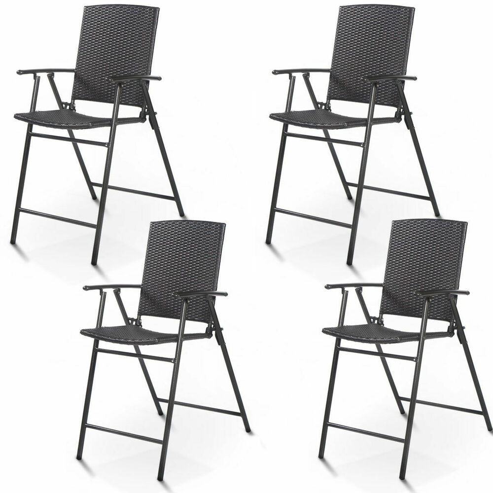4 Pcs Folding Rattan Wicker Bar Stool Chair Indoor