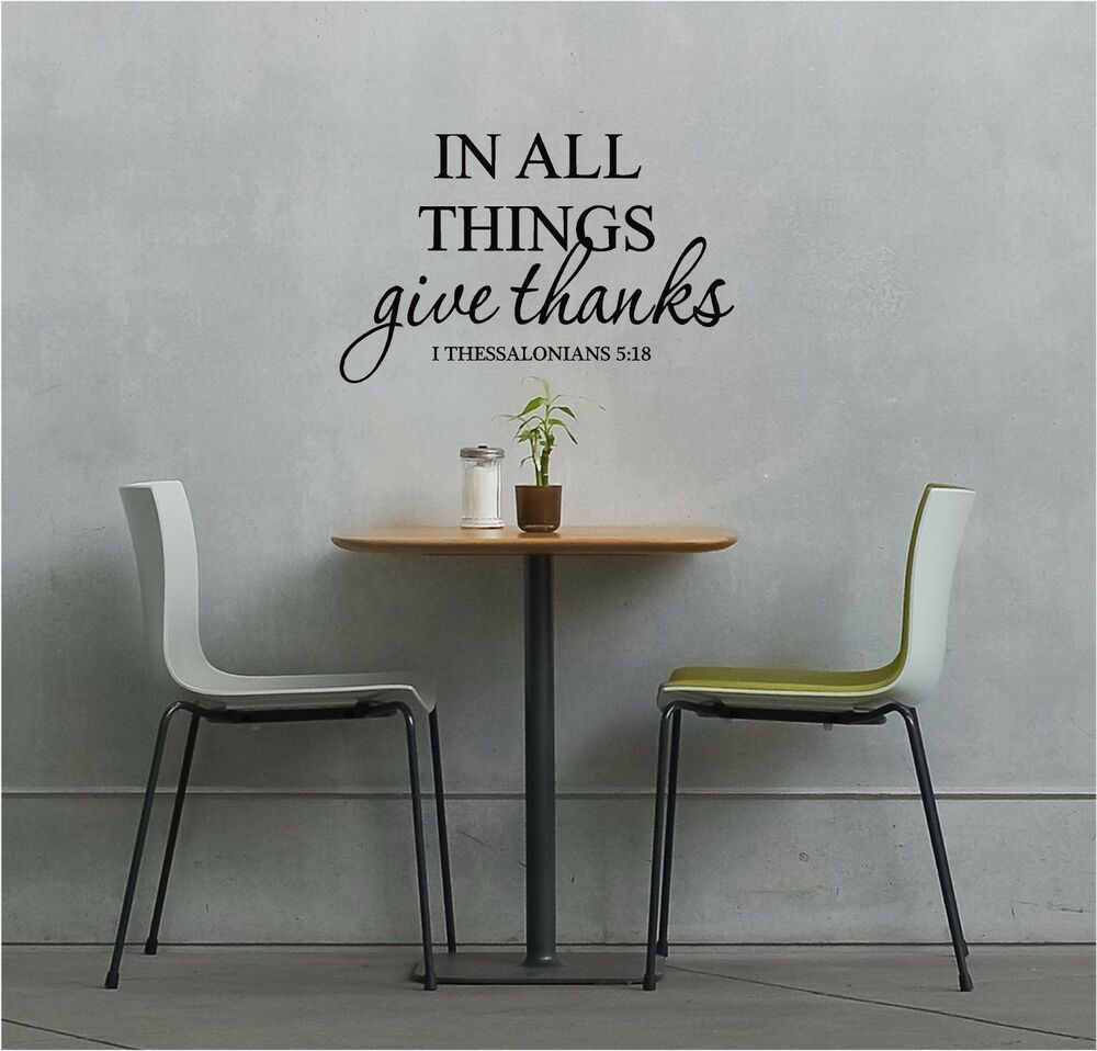 In all things give thanks wall sticker wall art quotes - Things to put on a wall ...