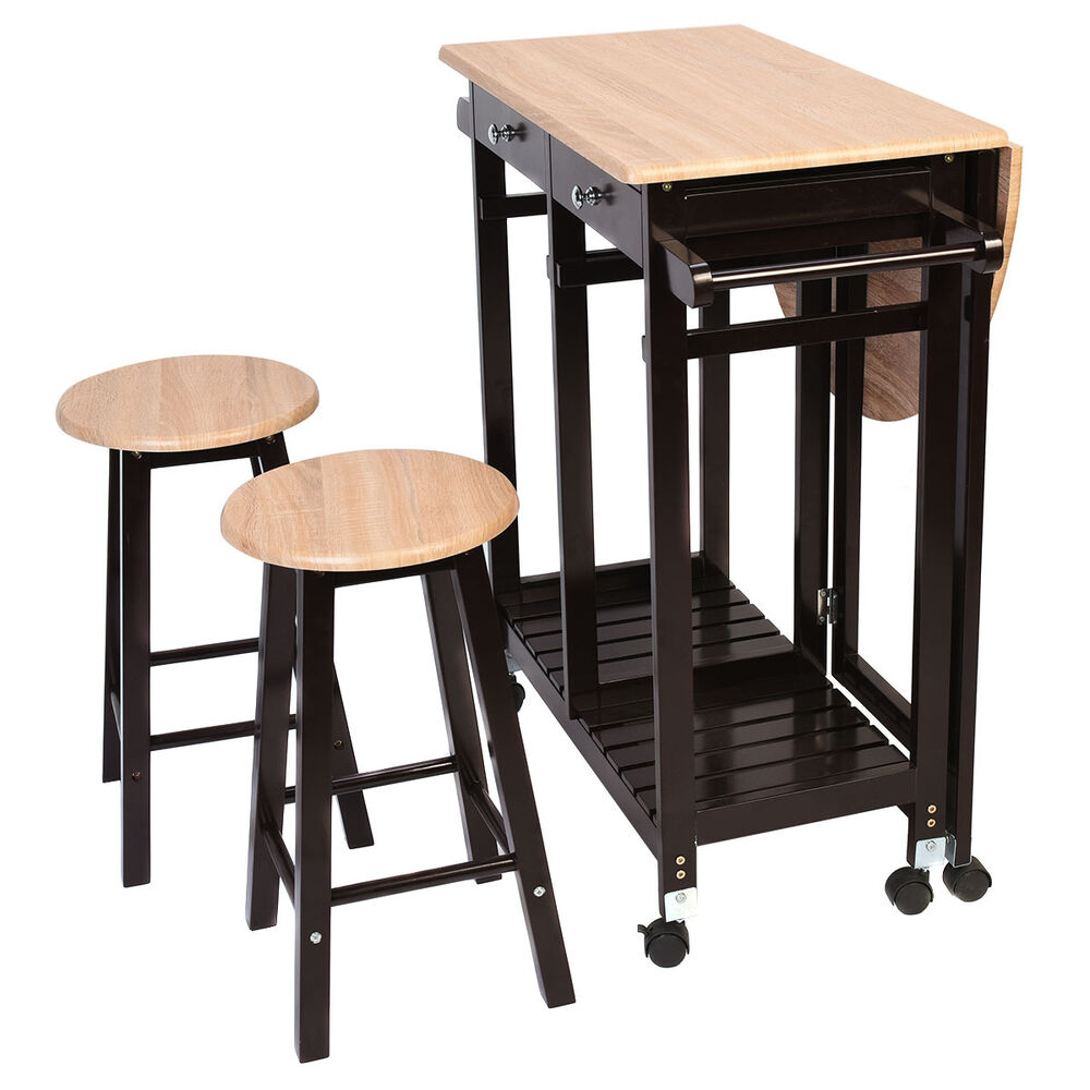 3PC Wood Kitchen Island Rolling Cart Set Dinning Drop Leaf  : s l1000 from www.ebay.com size 1000 x 1000 jpeg 92kB