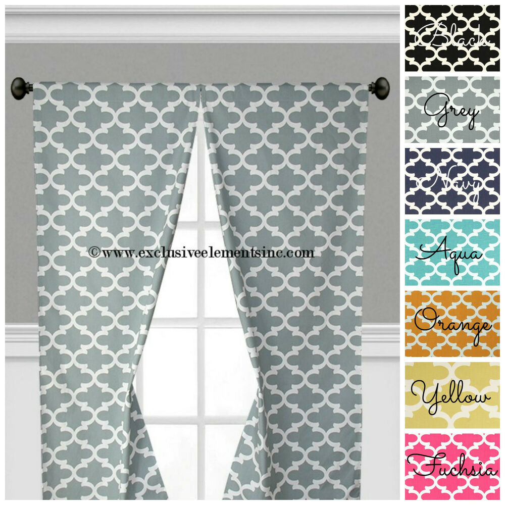 Navy Blue And Yellow Curtains: Quatrefoil Curtains Gray Navy Pink Yellow Trellis Window