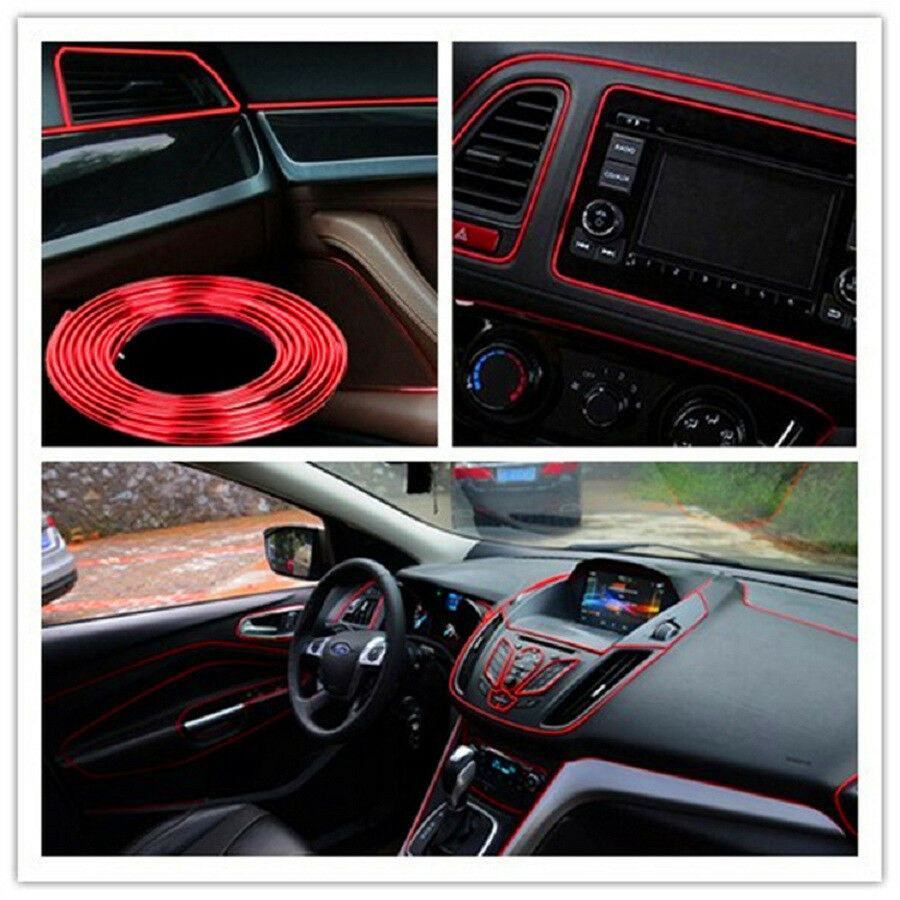 5m auto accessories car universal interior decorative red strip chrome shiny ebay. Black Bedroom Furniture Sets. Home Design Ideas