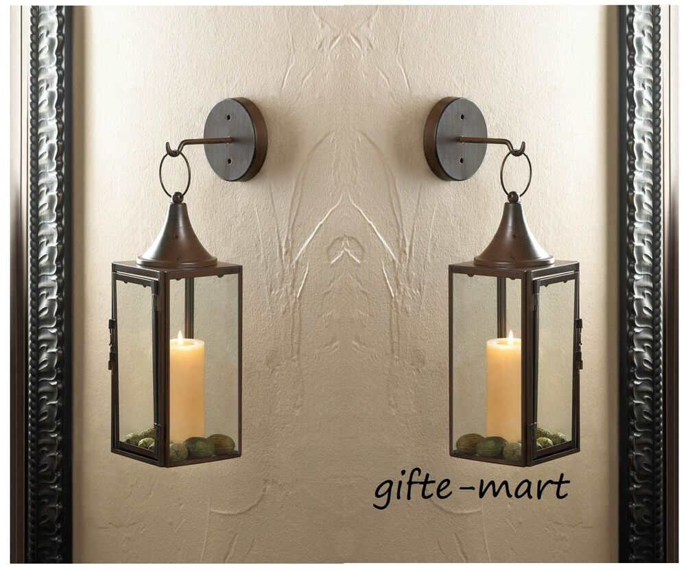 How To Hang Wall Sconces For Candles : 2 Brown iron Artisanal Sconce WALL hook hurricane candle holder hanging lantern eBay