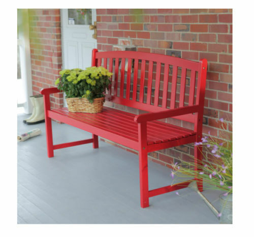 Outdoor Bench Red Garden Patio Porch Furniture Wood Red 5 ft Slat Curved Back