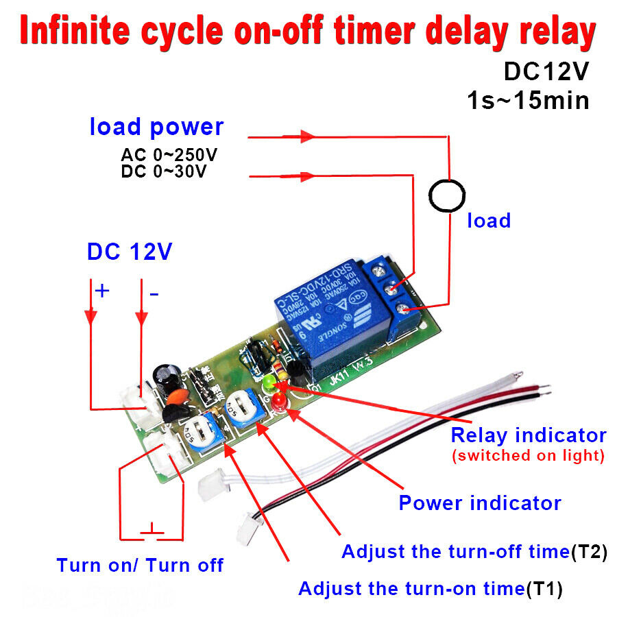 Dc 12v Infinite Cycle Delay Timing Timer Relay On Off Switch Loop Module Time 664469126390