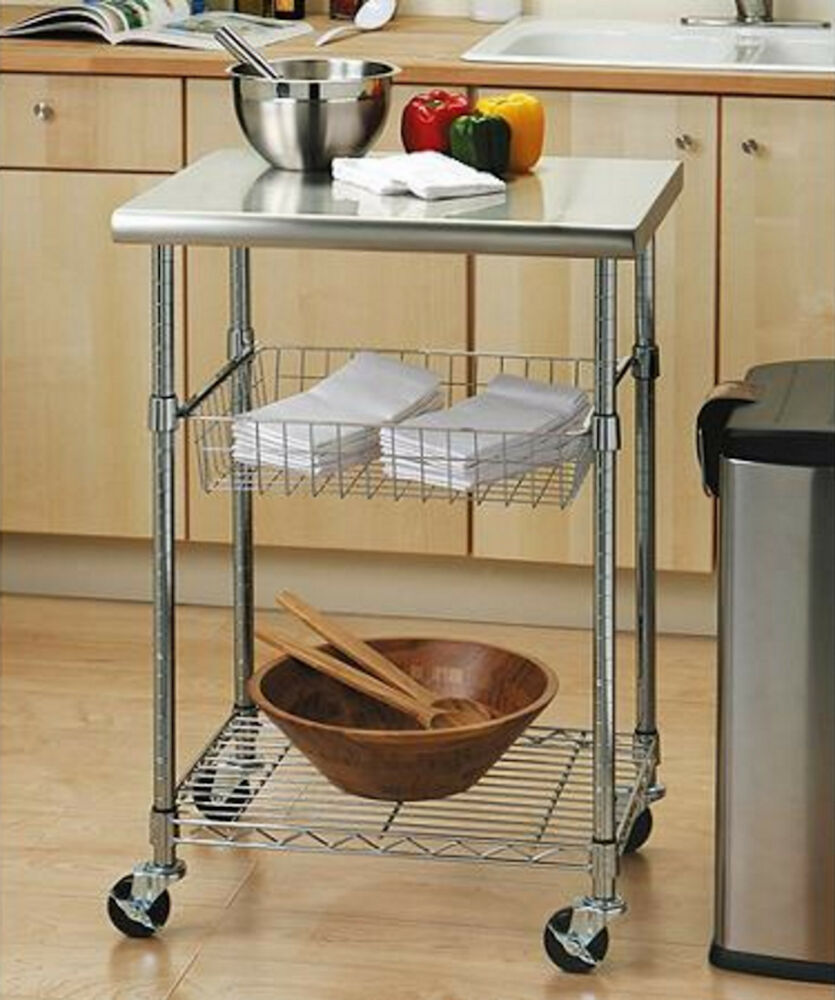 Flip And Fold Rolling Table Stainless Steel Wood: Seville Classics Chef's Table Kitchen Rolling Storage Cart
