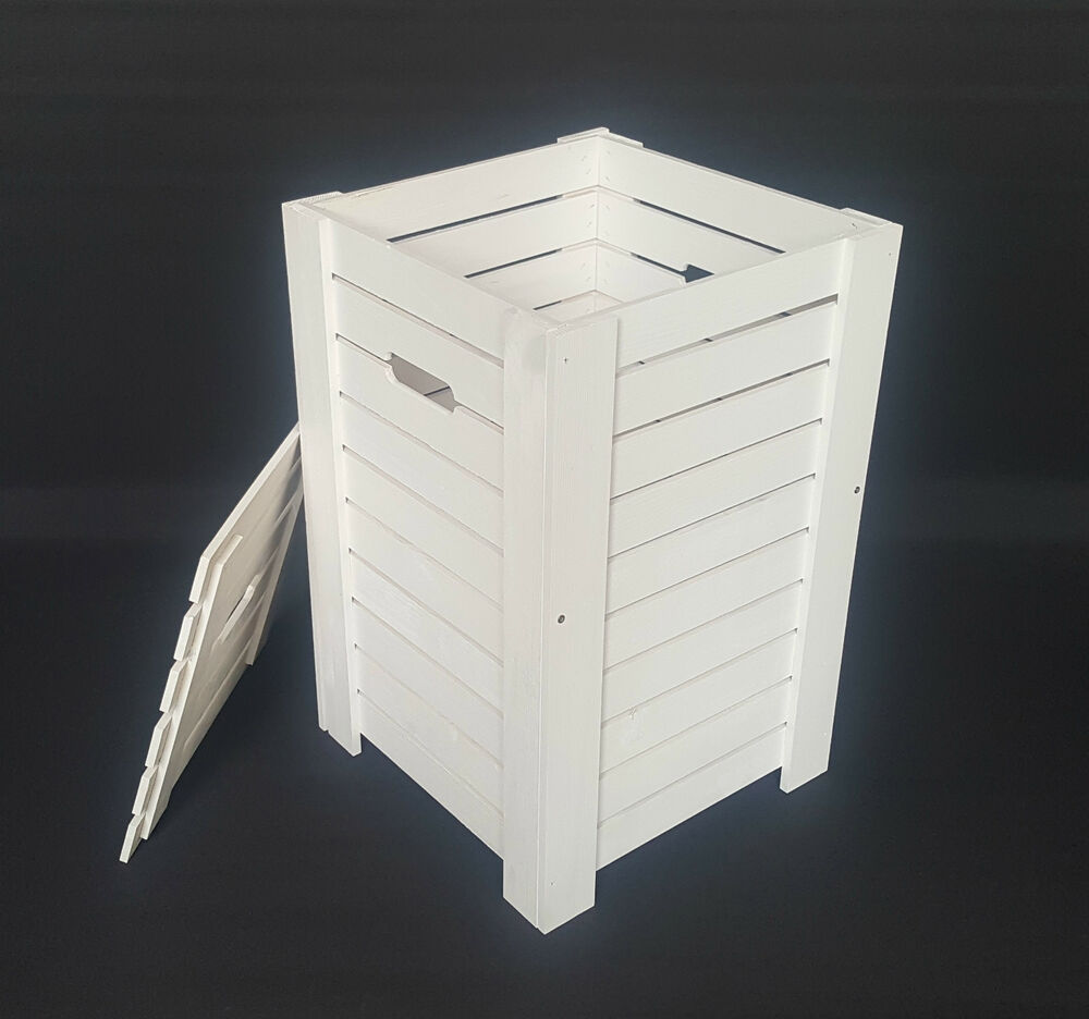 Wooden White Baskets For Dirty Clothes Laundry Storage Box