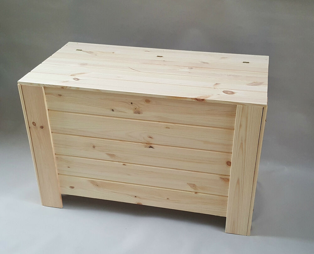 Extra Large Wooden Storage Box Chest Plain Wood Boxes Lid