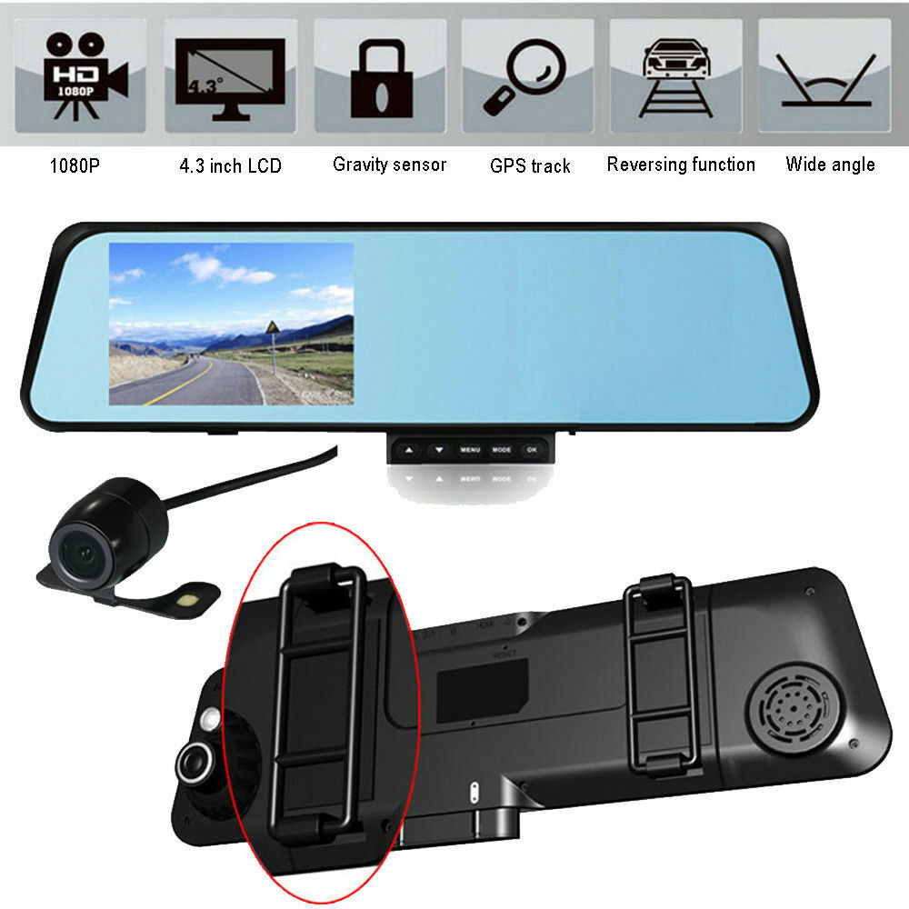 4 3 hd 1080p dual lens car rearview mirror dvr camera for Mirror video