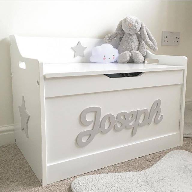 White wooden personalised children s toy box storage