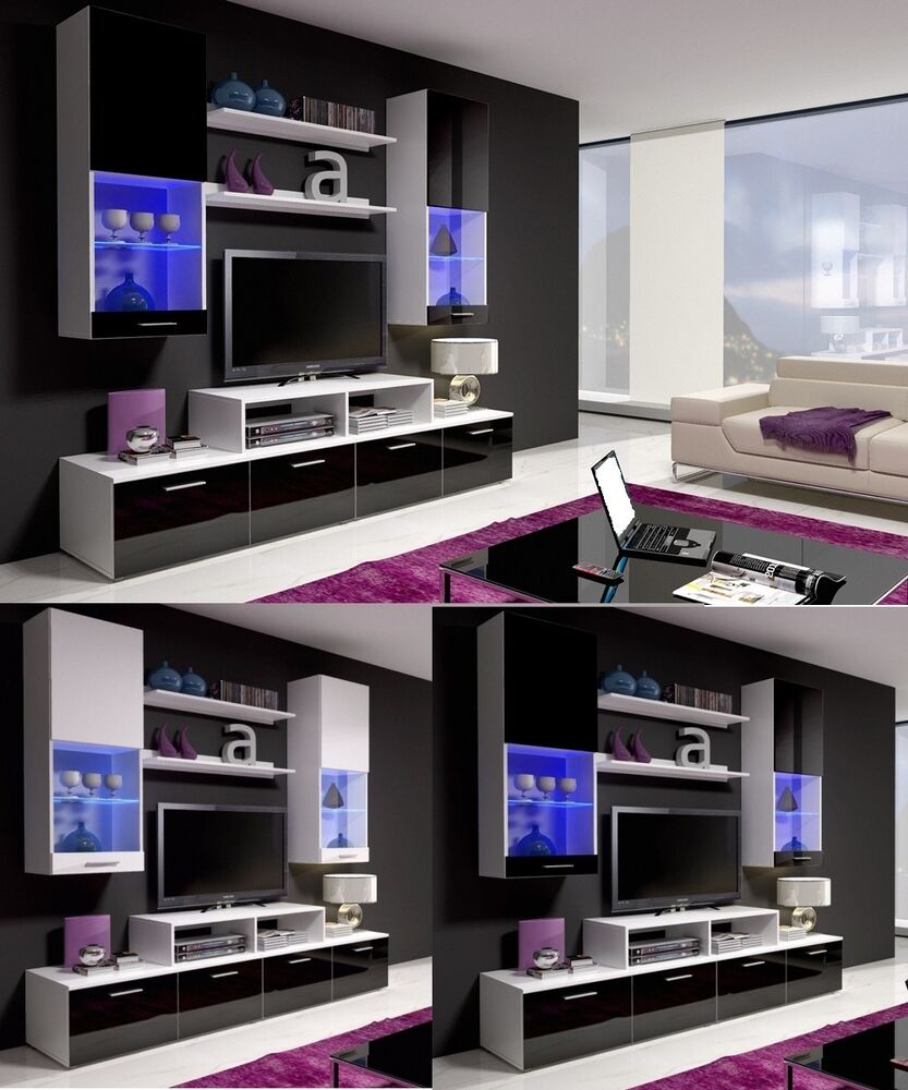 wall mounted shelf unit display cabinet cupboard living room furniture tv stand ebay. Black Bedroom Furniture Sets. Home Design Ideas