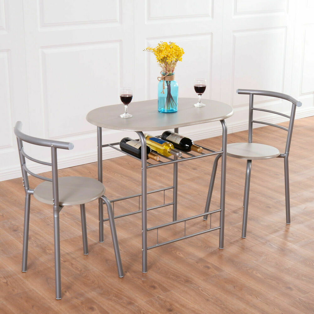Dining Table Sets With Bench: 3 Piece Dining Set Table 2 Chairs Bistro Pub Home Kitchen