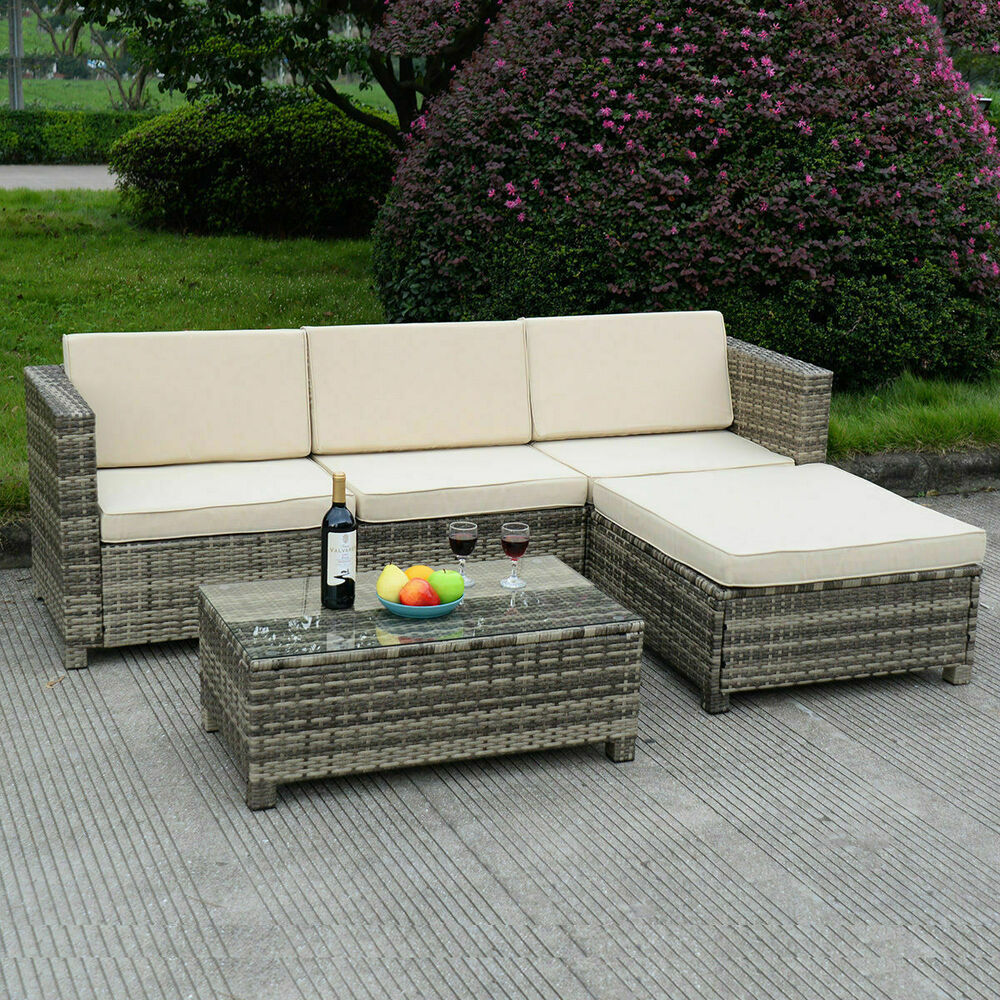 5 pc outdoor patio rattan furniture set sectional. Black Bedroom Furniture Sets. Home Design Ideas
