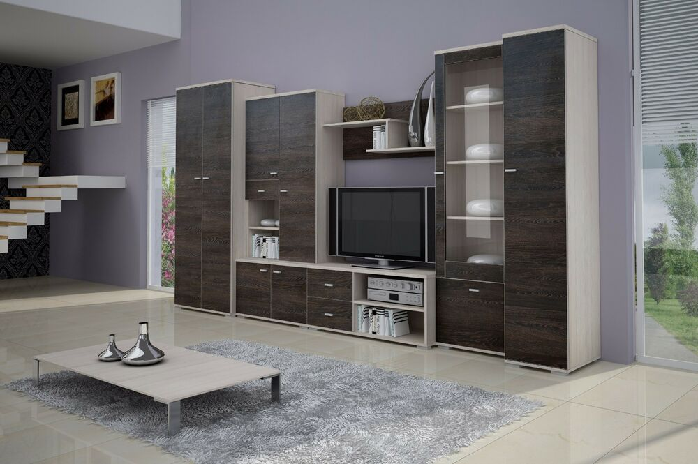 wohnwand mit kleiderschrank 80cm anbauwand wohnzimmer set 7 tlg tv schrank ebay. Black Bedroom Furniture Sets. Home Design Ideas