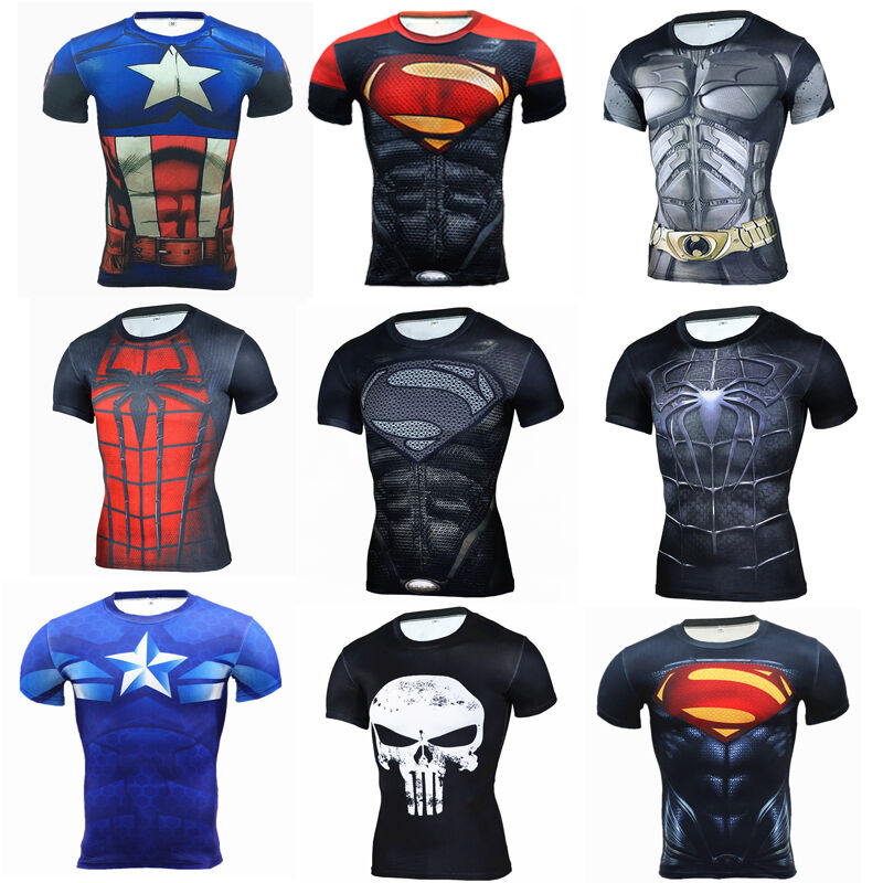 b7491afc Details about Mens Marvel Superhero Compression T Shirts Gym Sport Dri Fit  Short Sleeve Jersey