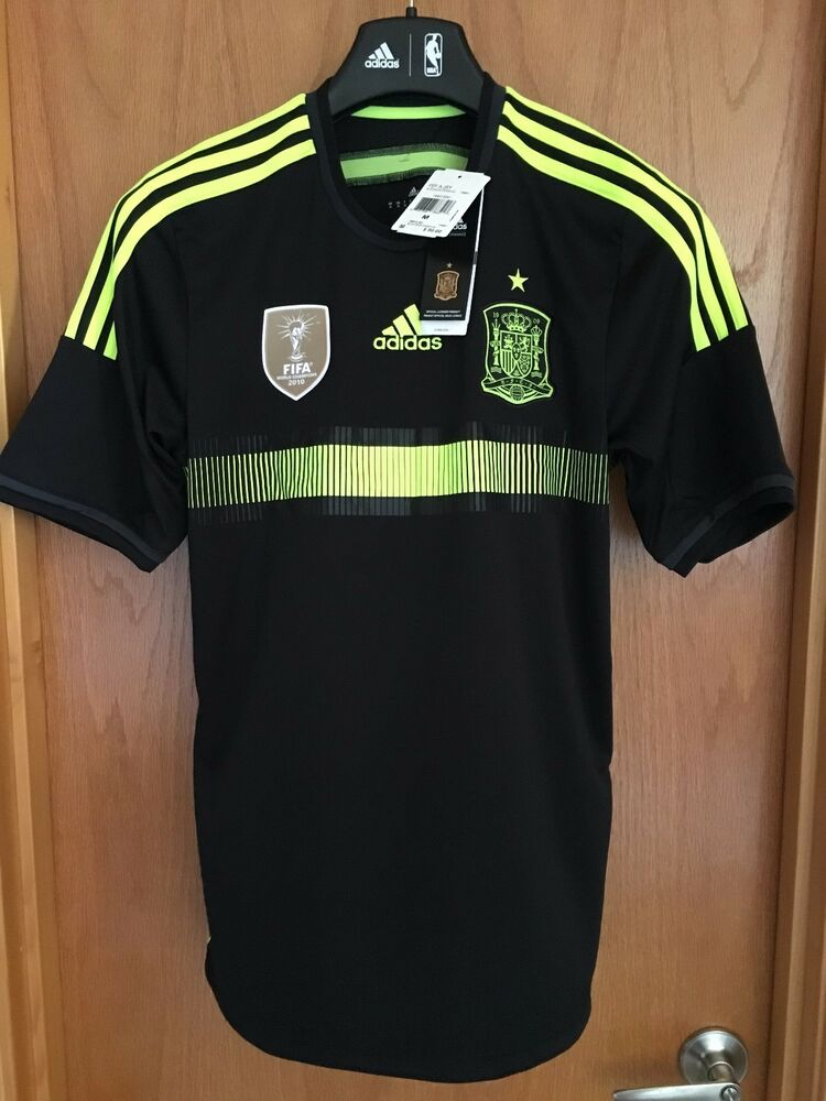 91c06bef498 Adidas 2014 Spain FEF National Away Jersey BLK.Volt F39821 U.S Mens SMALL-XL   90