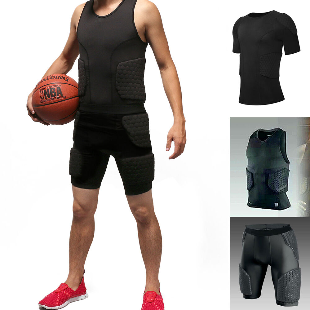 Men protective padded compression sports tank top t for Best mens sport shirts