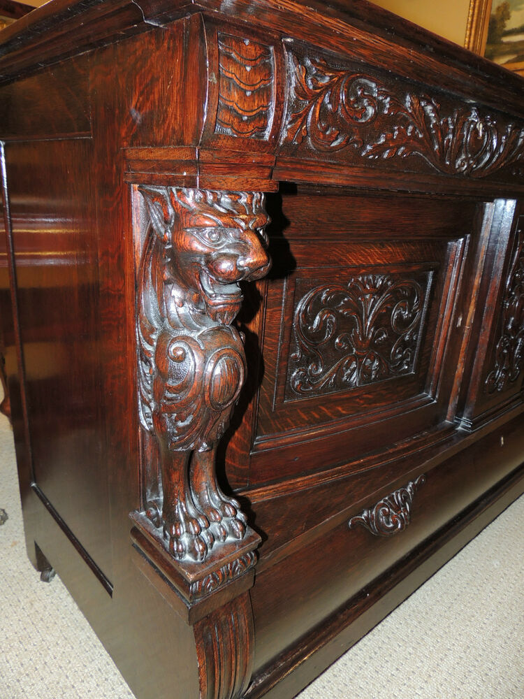 fabulous 19th century oak server carved dark oak sideboard buffet & hutch/display cabinet china cabinet hutch buffet