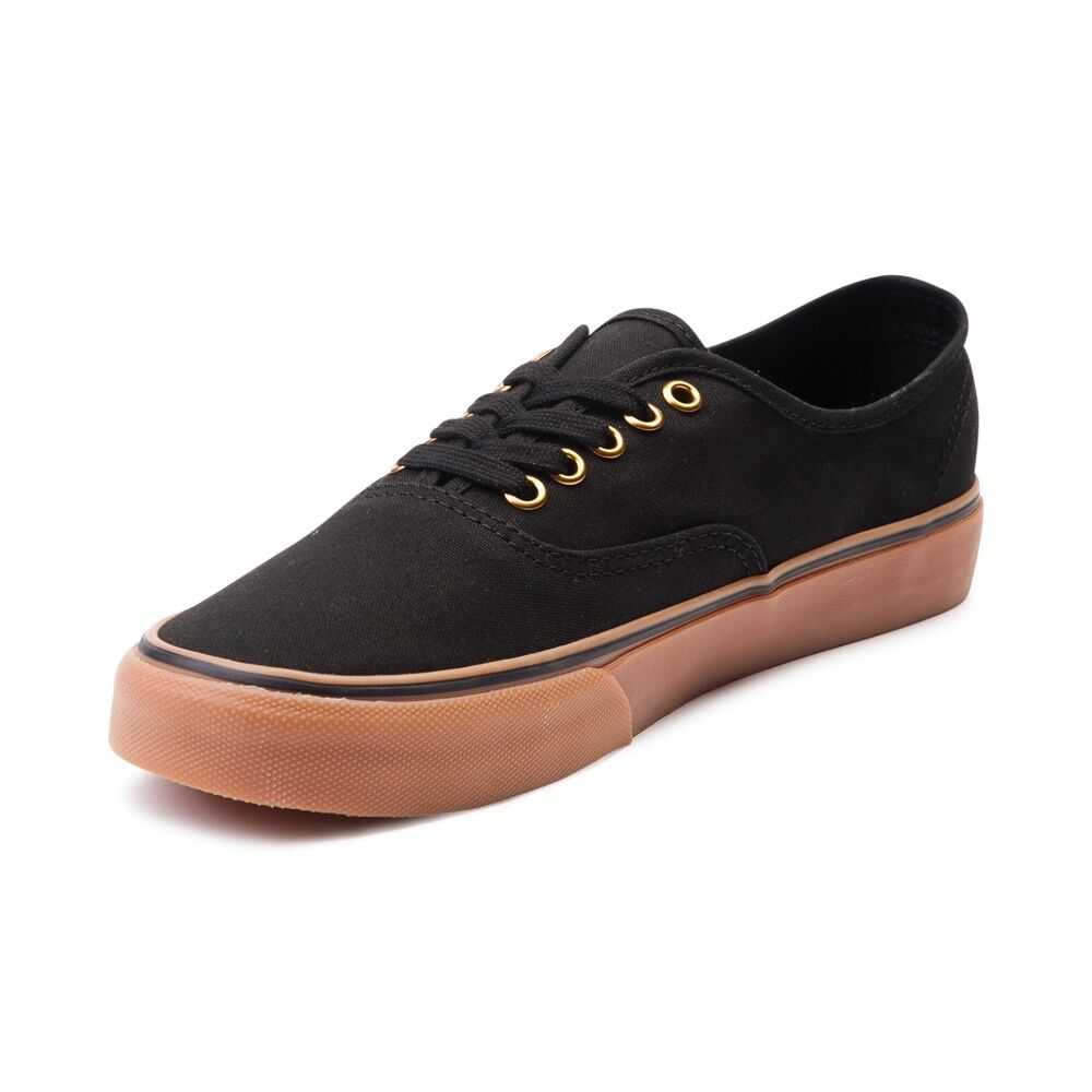 fb3f3db675b4 Details about Vans Authentic Black Rubber Gum Sole Mens Womens Shoes  Sneakers Sizes