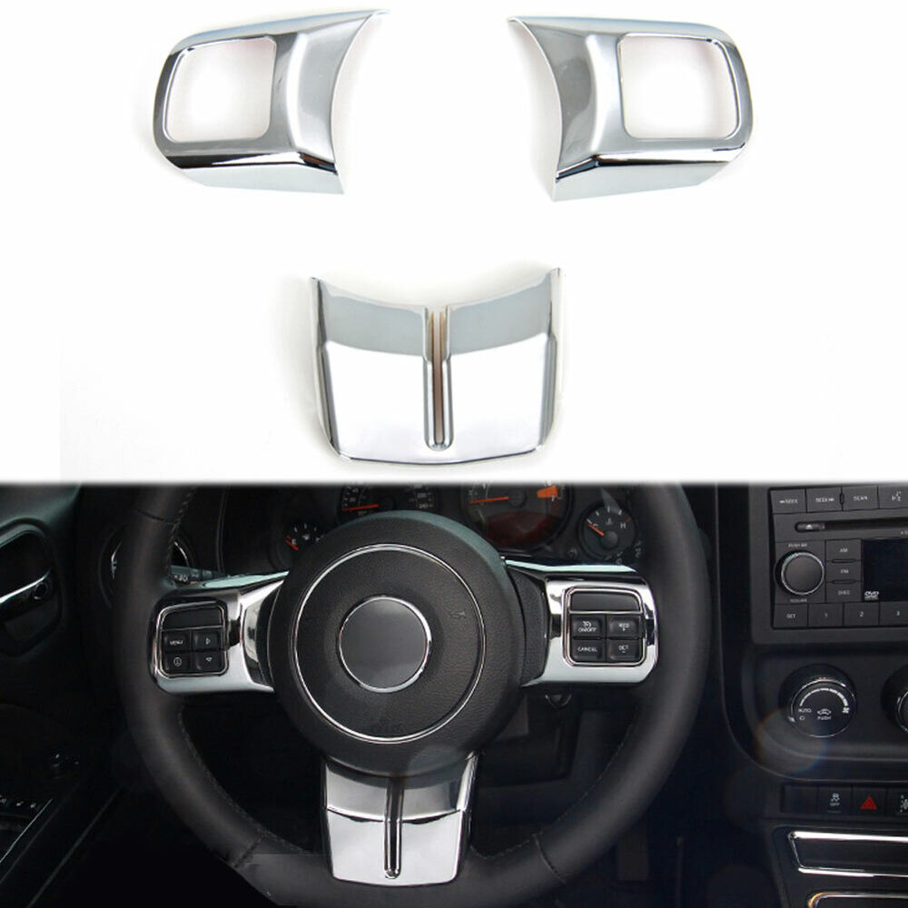 Chrome Interior Steering Wheel Cover Trim 3x For Patriot