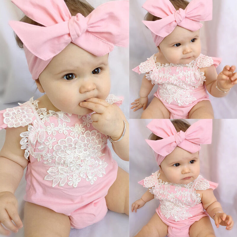 Newborn Baby Girl Rompers Bodysuit Lace Floral Jumpsuit Headband Outfits Sunsuit | EBay
