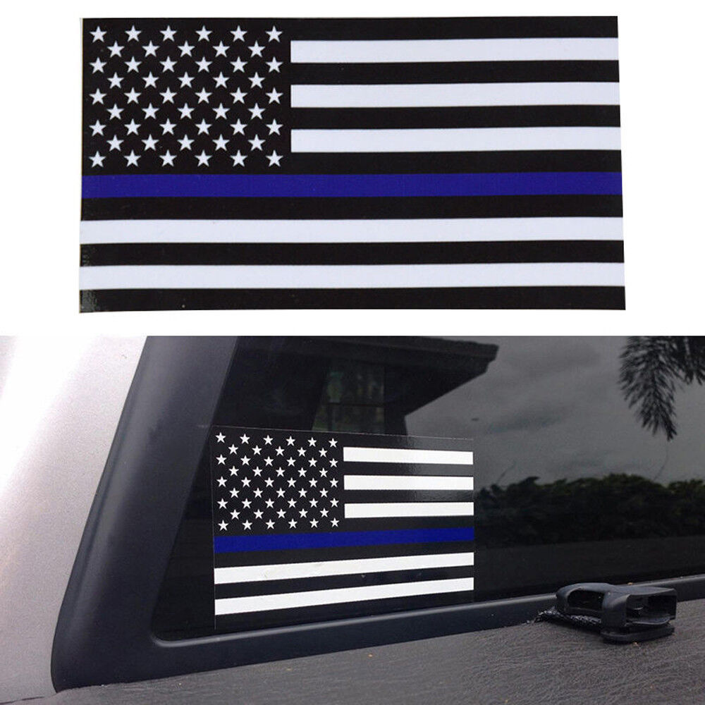 2pcs Thin Blue Line American Flag Car Decal Sticker Police