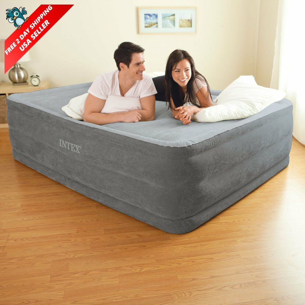 queen size comfort air bed mattress 22 with built in electric pump raised guest ebay. Black Bedroom Furniture Sets. Home Design Ideas