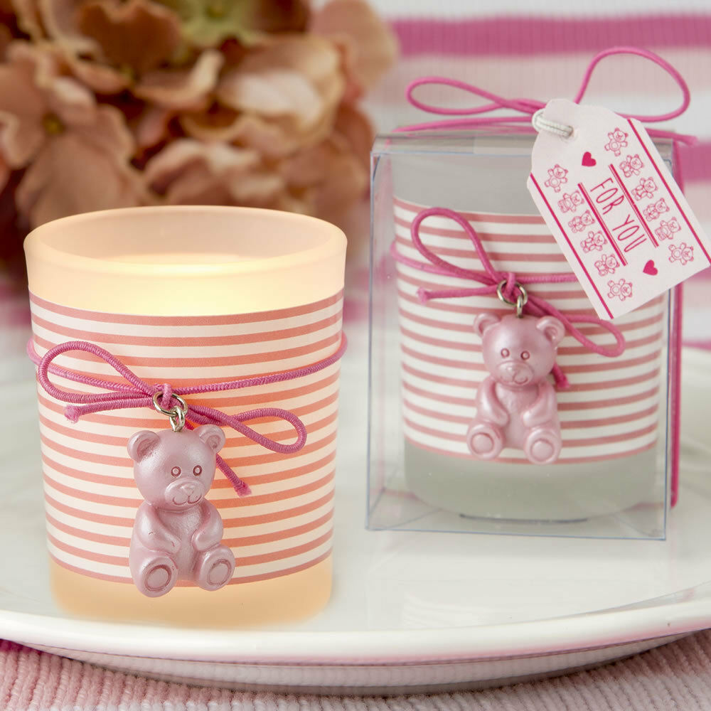 100 Baby Girl Votive Candle Pink Teddy Bear Baby Shower Christening ...