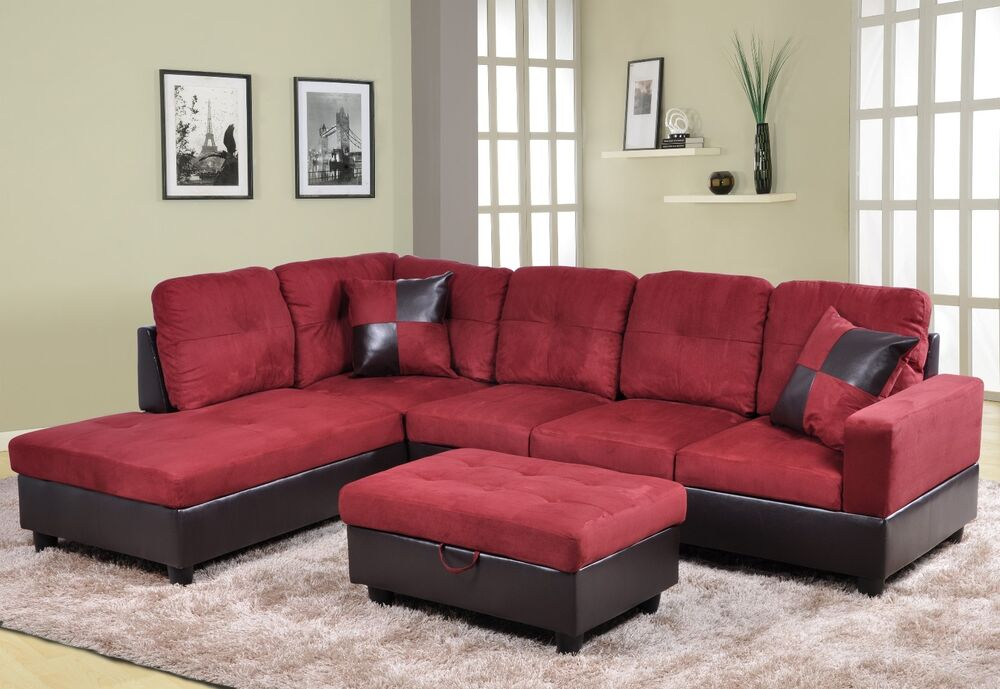 Beverly red microfiberfaux leather sectional sofa set for Red leather sectional sofa with ottoman