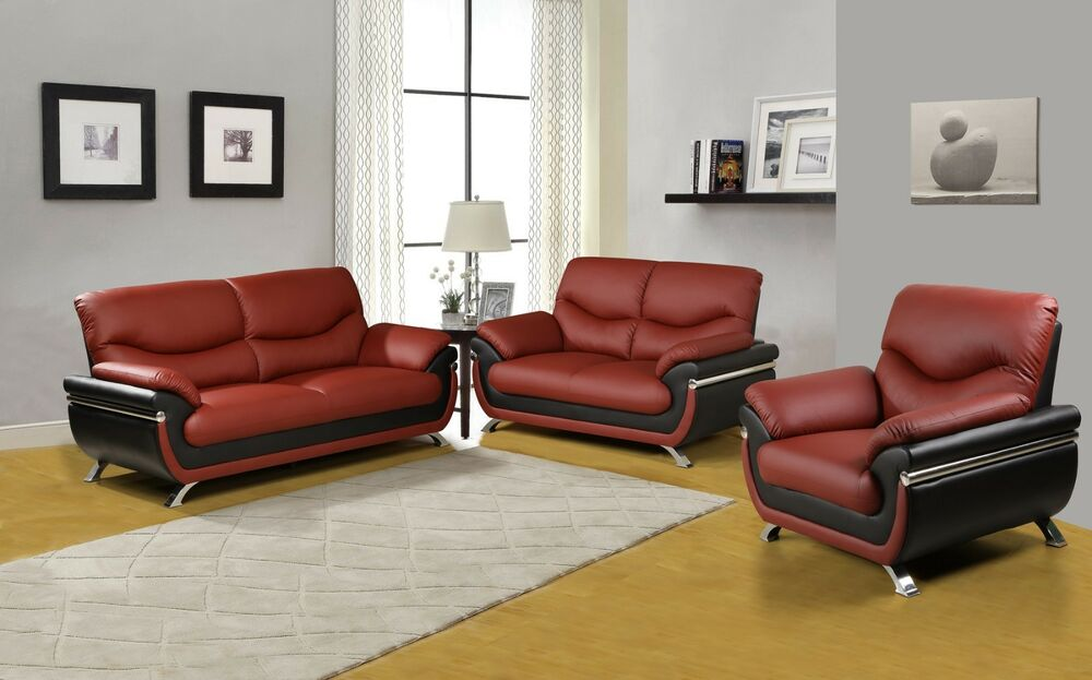 Beverly Furniture Contemporary Two Tone 3 Piece Faux Leather Sofa Set Ebay