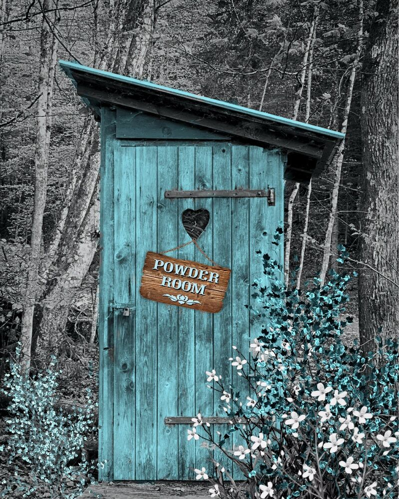 Teal Gray Vintage Outhouse Country Privy Powder Room Photo