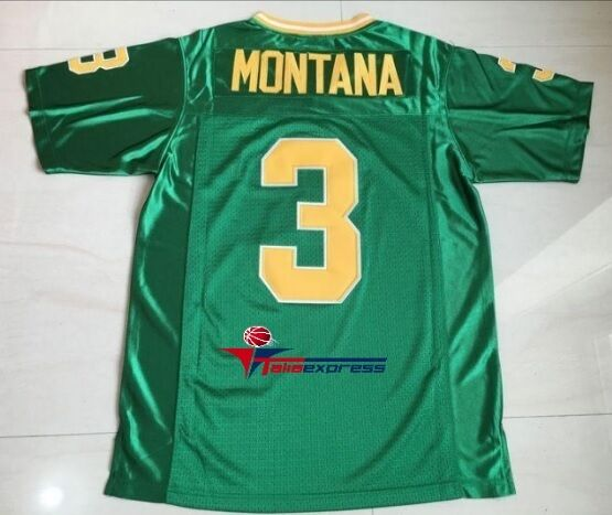90d0ea60b Details about Joe Montana 3 Notre Dame College Football stitched Retro Green  Jersey Sewn New