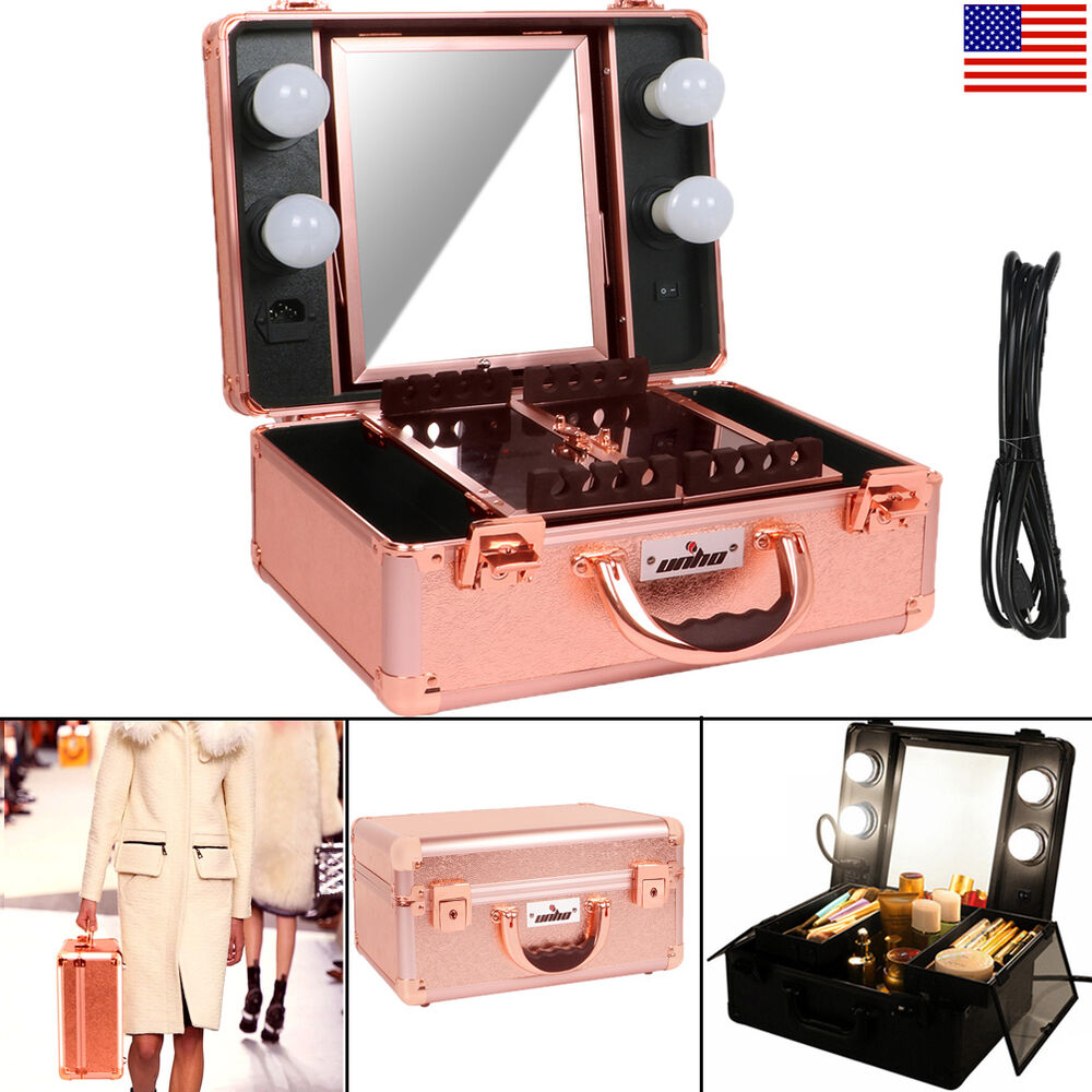 Lighted Vanity Mirror With Storage : UNHO Studio ToGo Makeup Case & Organizer Lighted Mirror Vanity Box Black / Rose eBay