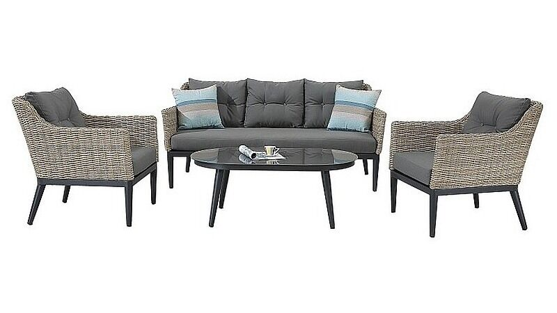 halb rund rattan gartenm bel polyrattan sitzgruppe gartengarnitur lounge madeira ebay. Black Bedroom Furniture Sets. Home Design Ideas
