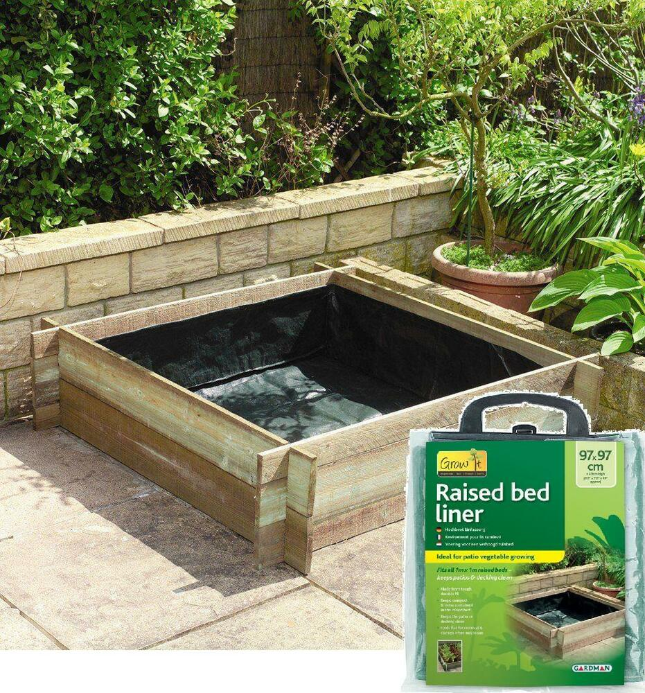 Rectangle Raised Flower Box Planter Bed 2 Tier Soil Pots: Garden Planter Liner Raised Bed Grow Herb Vegetable 1m