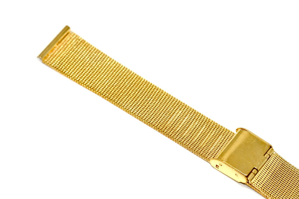 18MM GOLD STAINLESS STEEL MESH METAL BUCKLE WATCH BAND ...