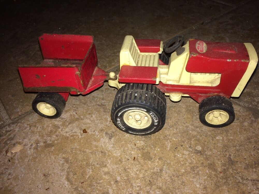 Vintage Tonka Tractors : Vintage tonka mini lawn tractor with attached trailer