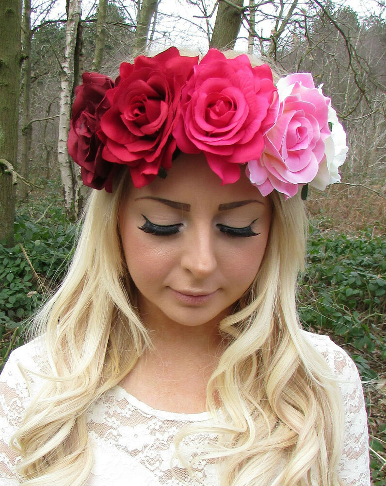 Details about Large Red Pink Cream Rose Flower Garland Headband Hair Crown  Festival Big 2209 a11a832eca8